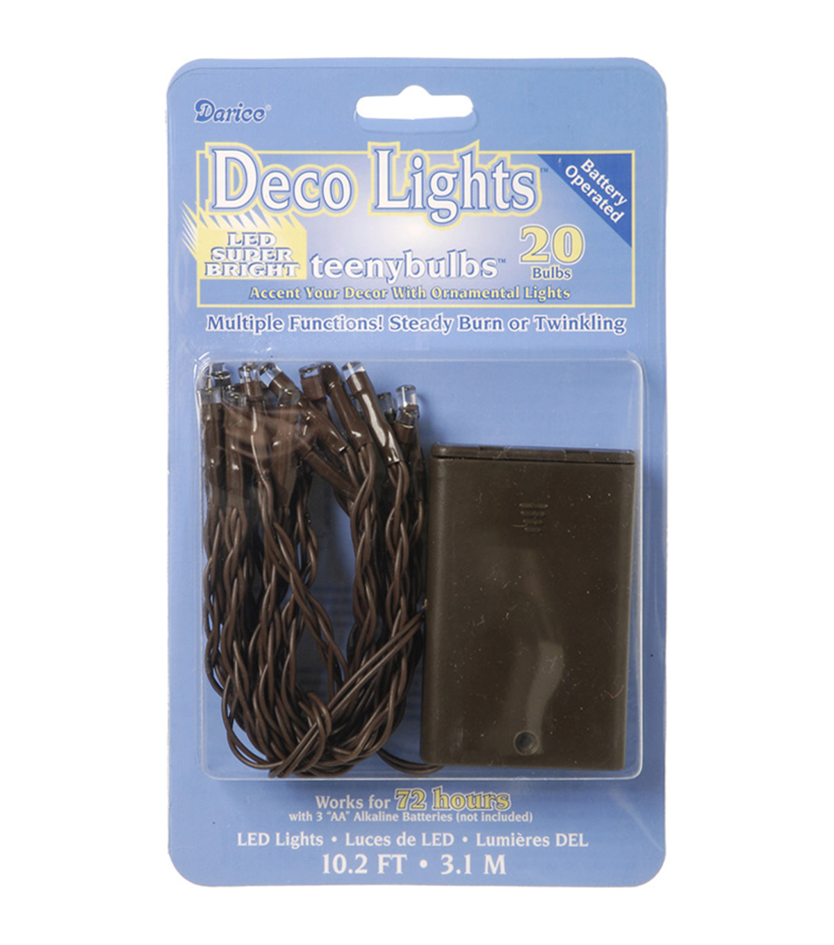 Darice 20 Ct Battery Operated Deco Lights With Teeny Bulbs-Brown