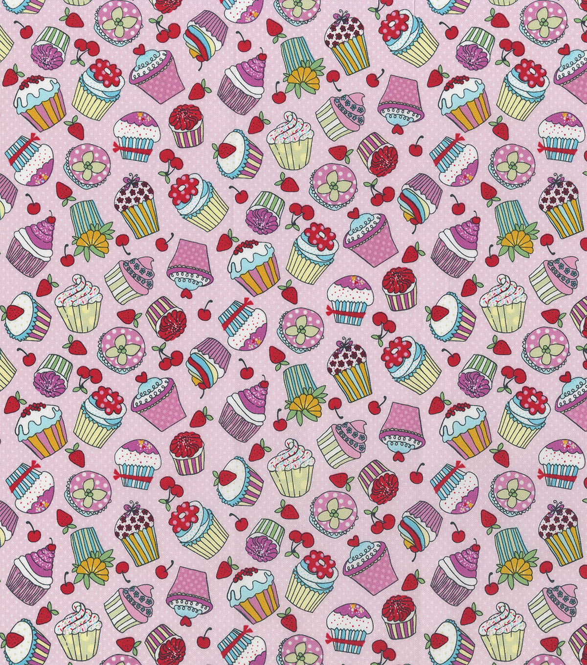 Novelty Cotton Fabric-Cupcakes Pink Dots