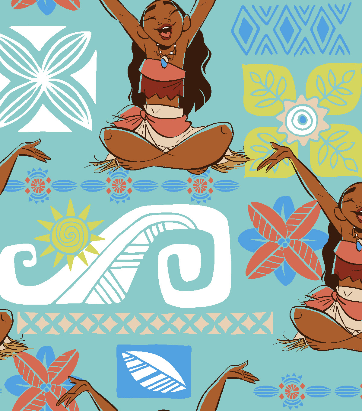 Disney Moana Fleece Fabric -Happy Day