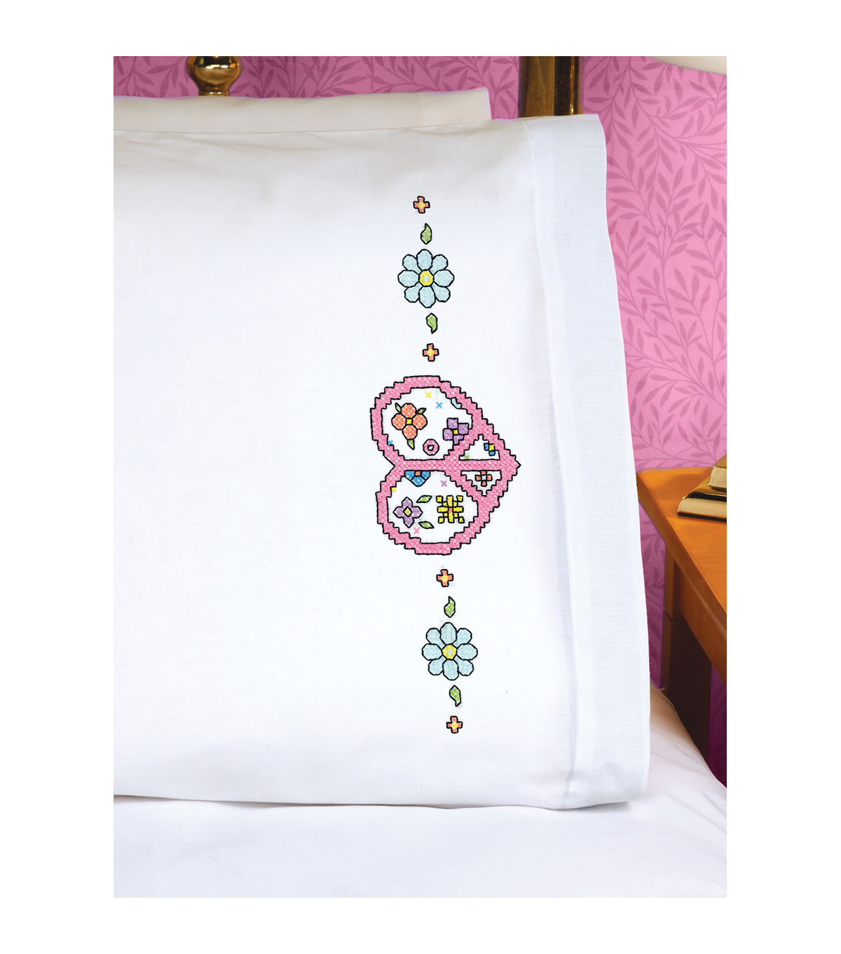 Janlynn Peace Heart Sign Pillowcase Pair Stamped Cross Stitch Kit