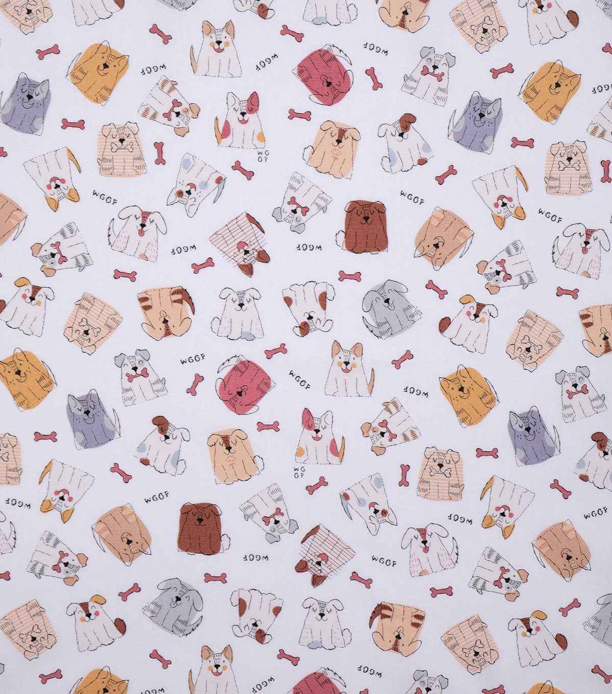 Novelty Cotton Fabric-Woof Dogs on White
