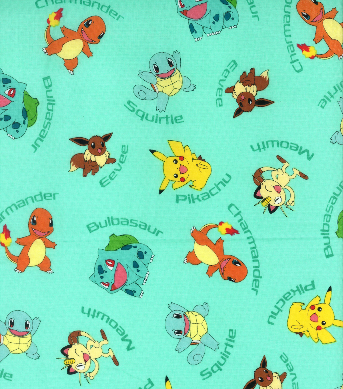 Pokemon Character Aqua Cotton Fabric Joann