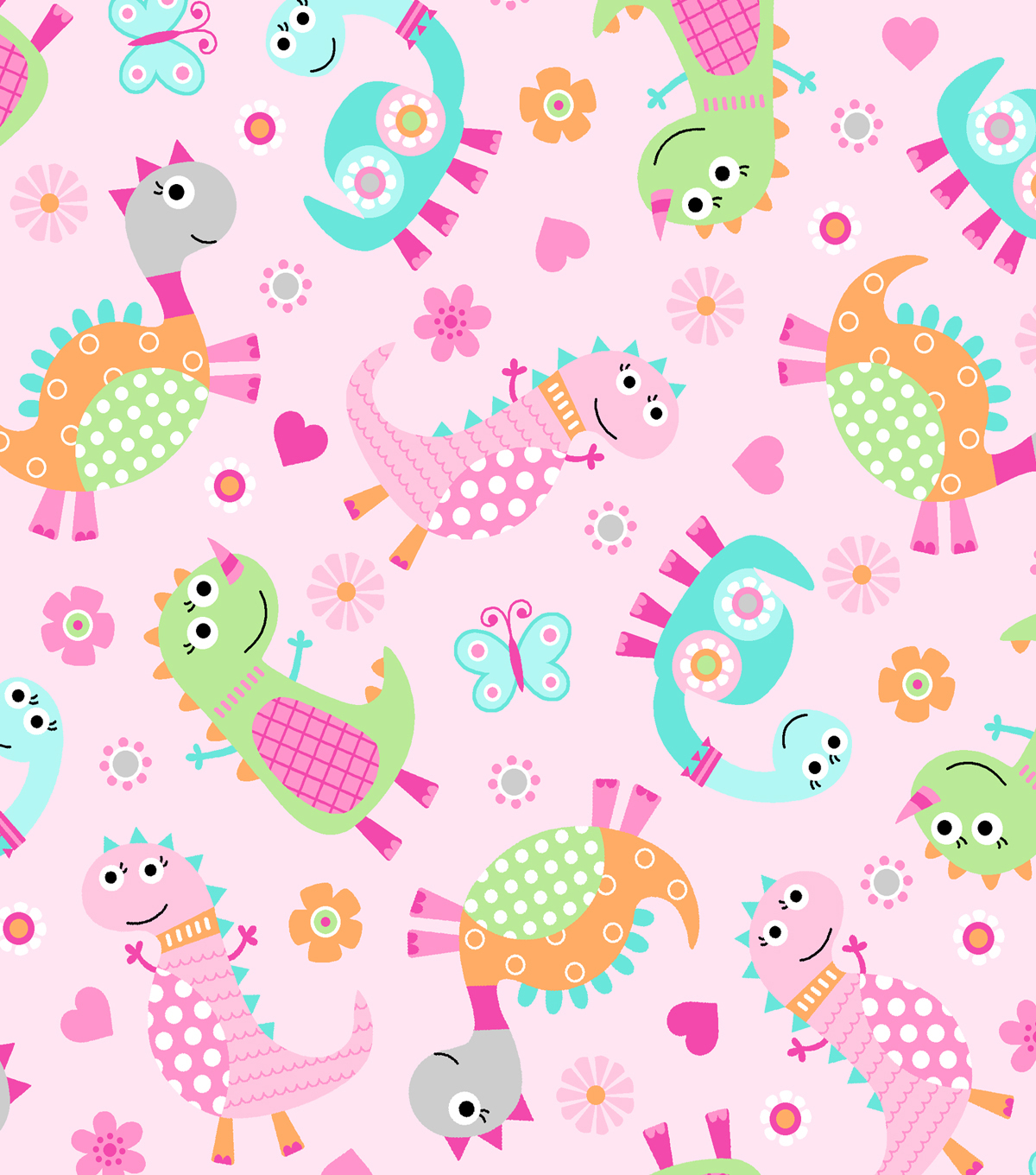 Snuggle Flannel Fabric -Dino Family Tossed Pink
