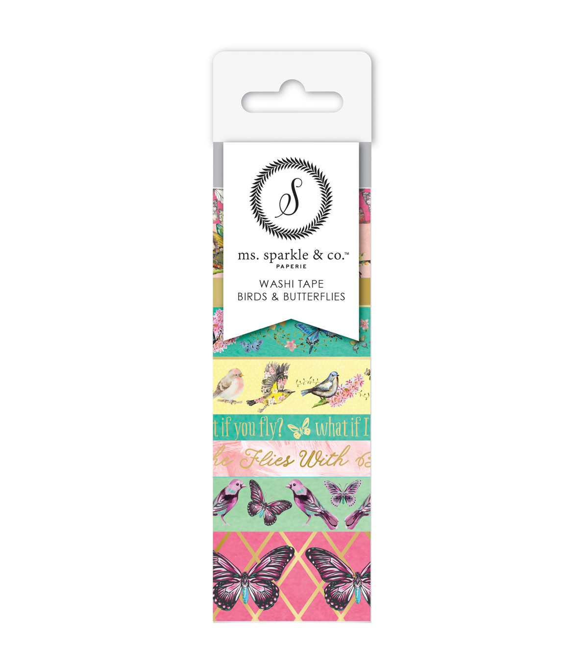 Ms. Sparkle & Co. 9 pk Washi Tapes-Birds & Butterflies