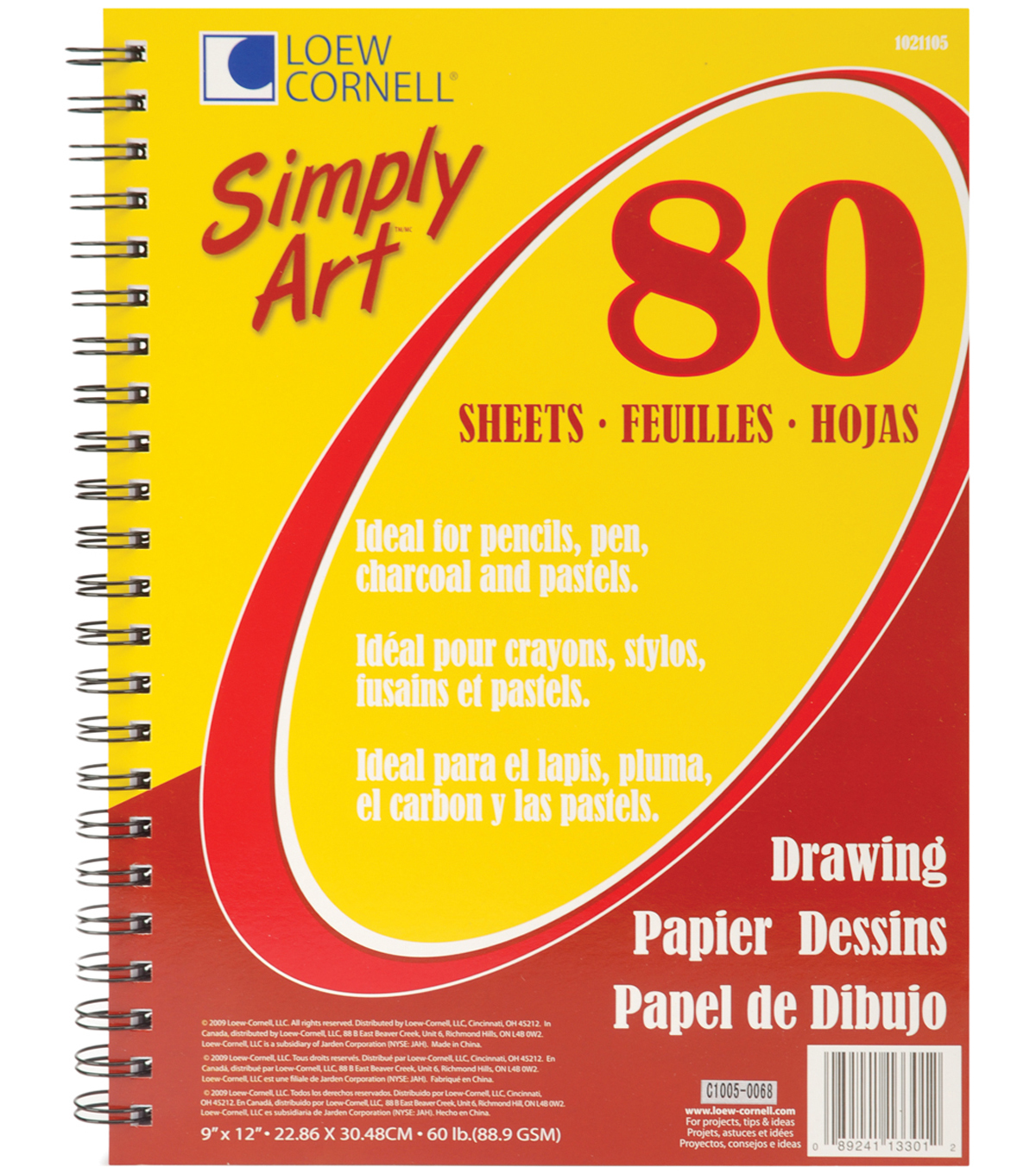 Simply Art Drawing Spiral Paper Pad 9\u0022X12\u0022-80 Sheets