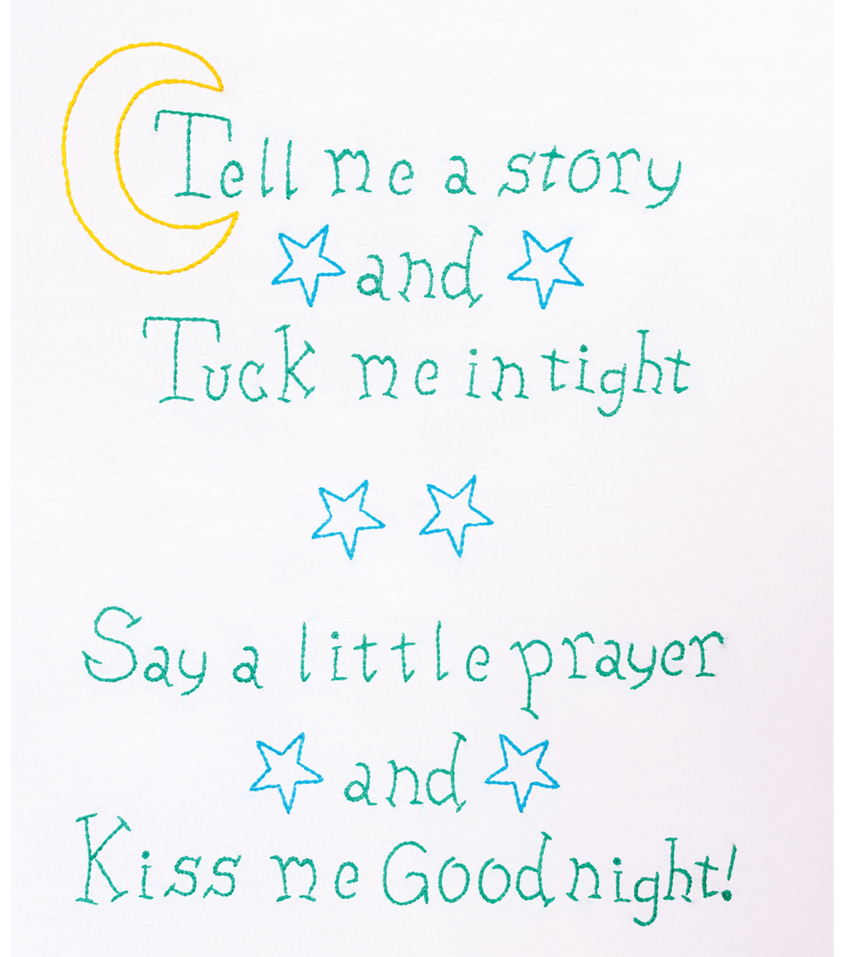 Jack Dempsey Needle Art 11\u0027\u0027x14\u0027\u0027 Stamped Sampler-Kiss Me Goodnight