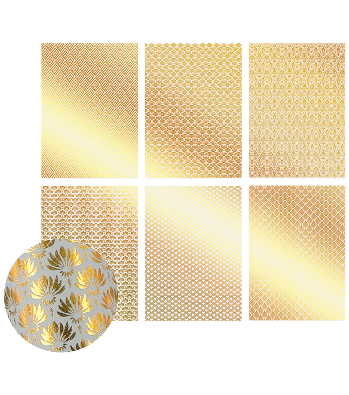 Ultimate Crafts The Ritz 12-sheet A4 Vellum Foil Papers-Gold