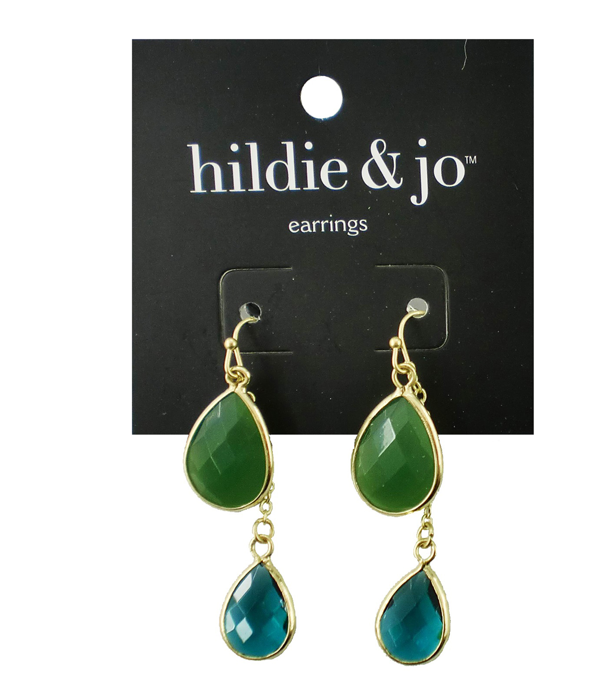 hildie & jo Gold Earrings-Green & Blue Stones
