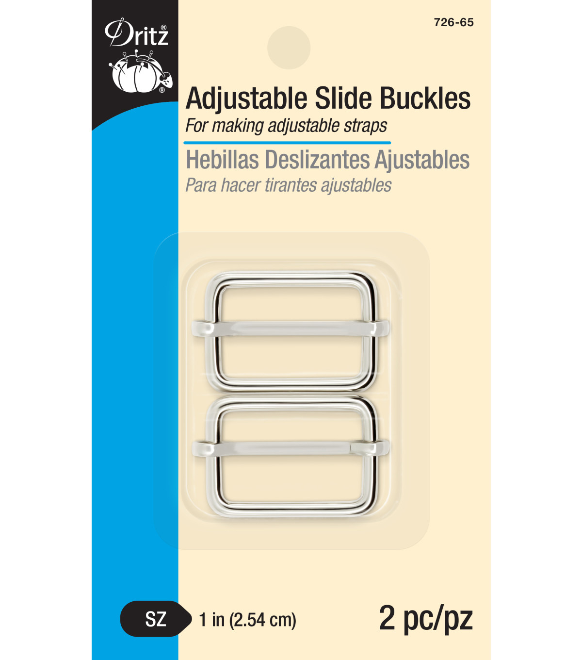 Dritz 1\u0022 Adjustable Slide Buckles-Nickel