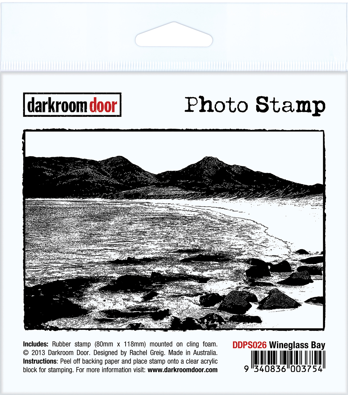Darkroom Door Cling Stamp 4.5\u0022X3\u0022-Wineglass Bay