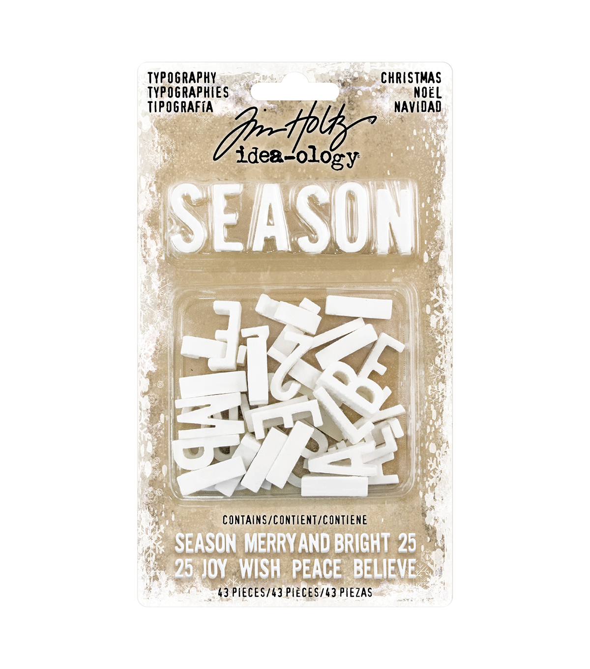 Tim Holtz Idea-ology Findings Typography Letters 43pk-Christmas
