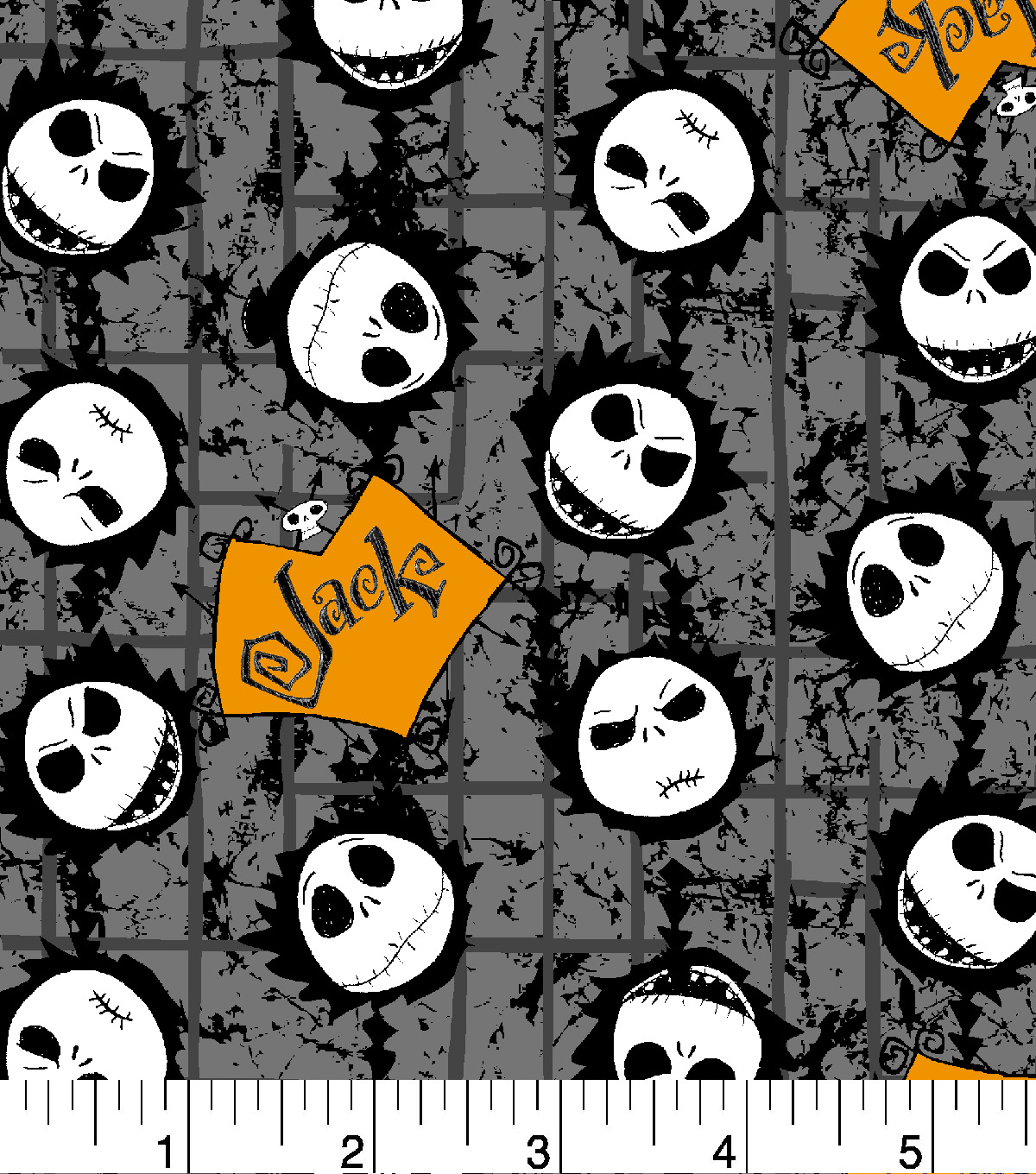 Nightmare Before Christmas Halloween Cotton Fabric Tossed Jack