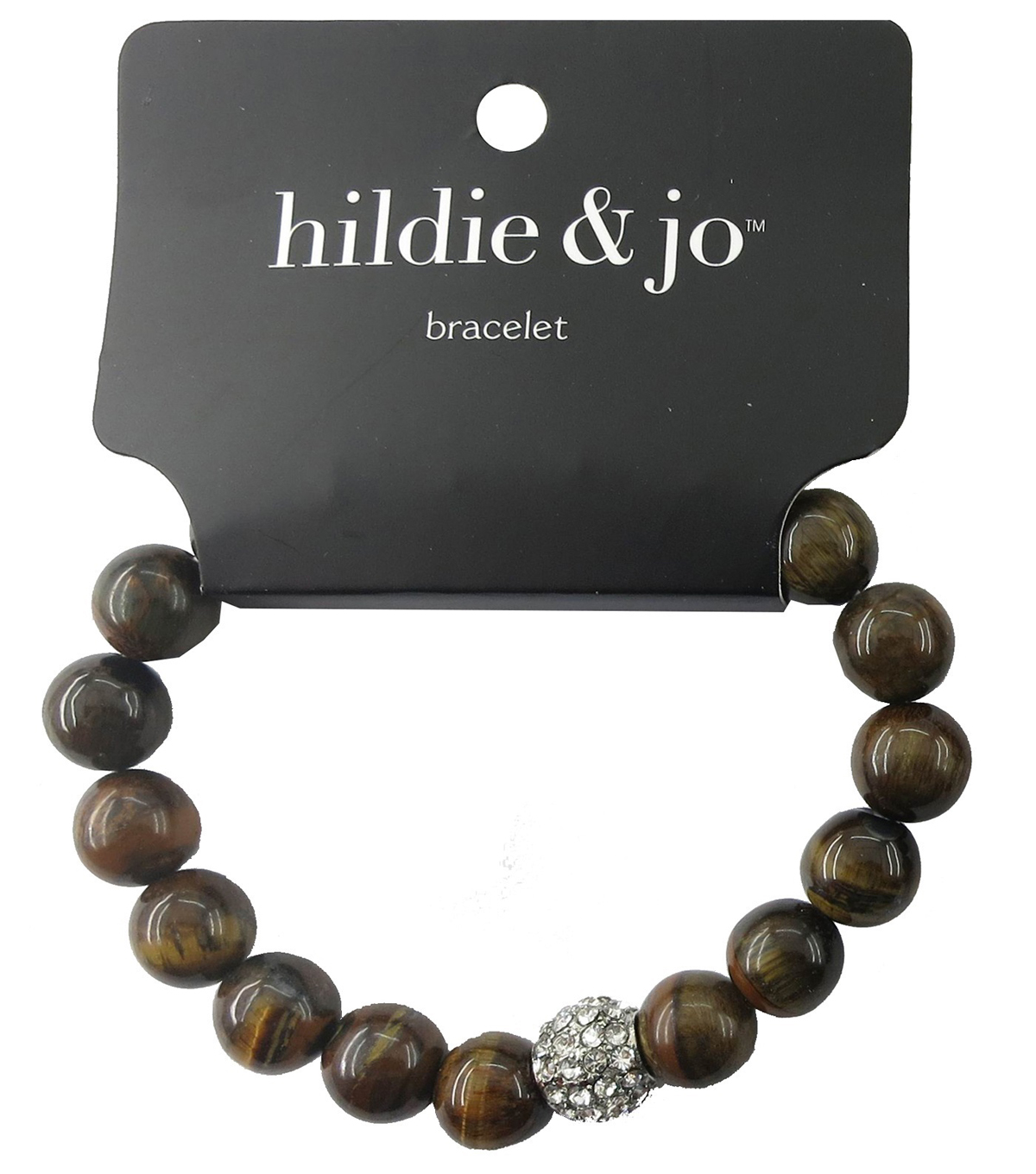 hildie & jo Stone Beads Stretch Bracelet-Black/Brown with Crystal