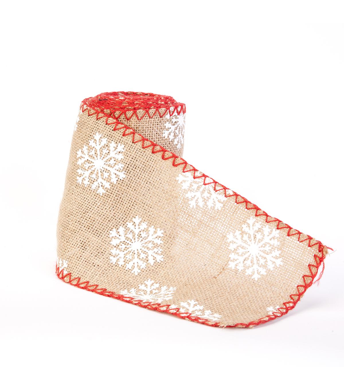 makeru0027s holiday christmas burlap ribbon 55u0027u0027x15u0027 snowflakes - Christmas Burlap Ribbon
