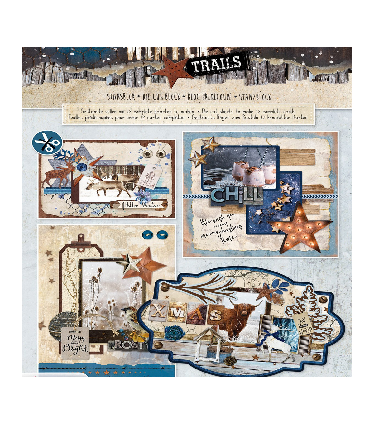 Studio Light Winter Trails Die-Cut Card Toppers 12/Pk