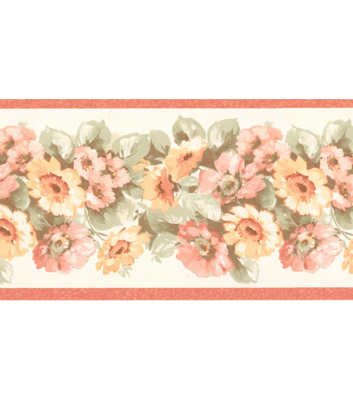 Maryanne Peach Floral Garden Wallpaper Border Sample | JOANN