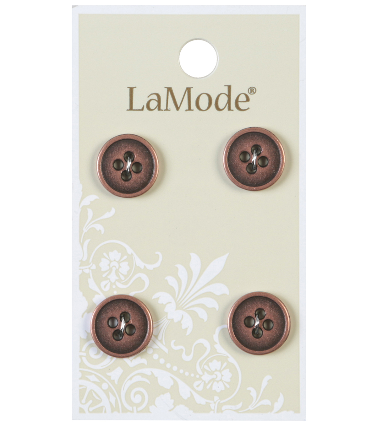 LaMode 4 Hole Antique Copper Metal Buttons 12mm