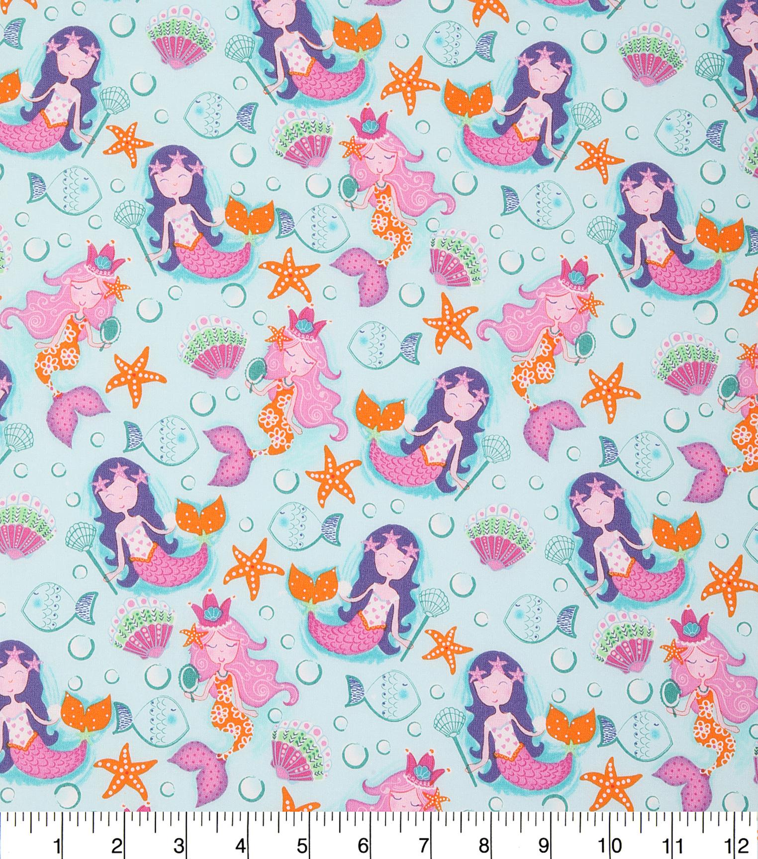 Novelty Cotton Fabric 44 Seashell Mermaids Joann
