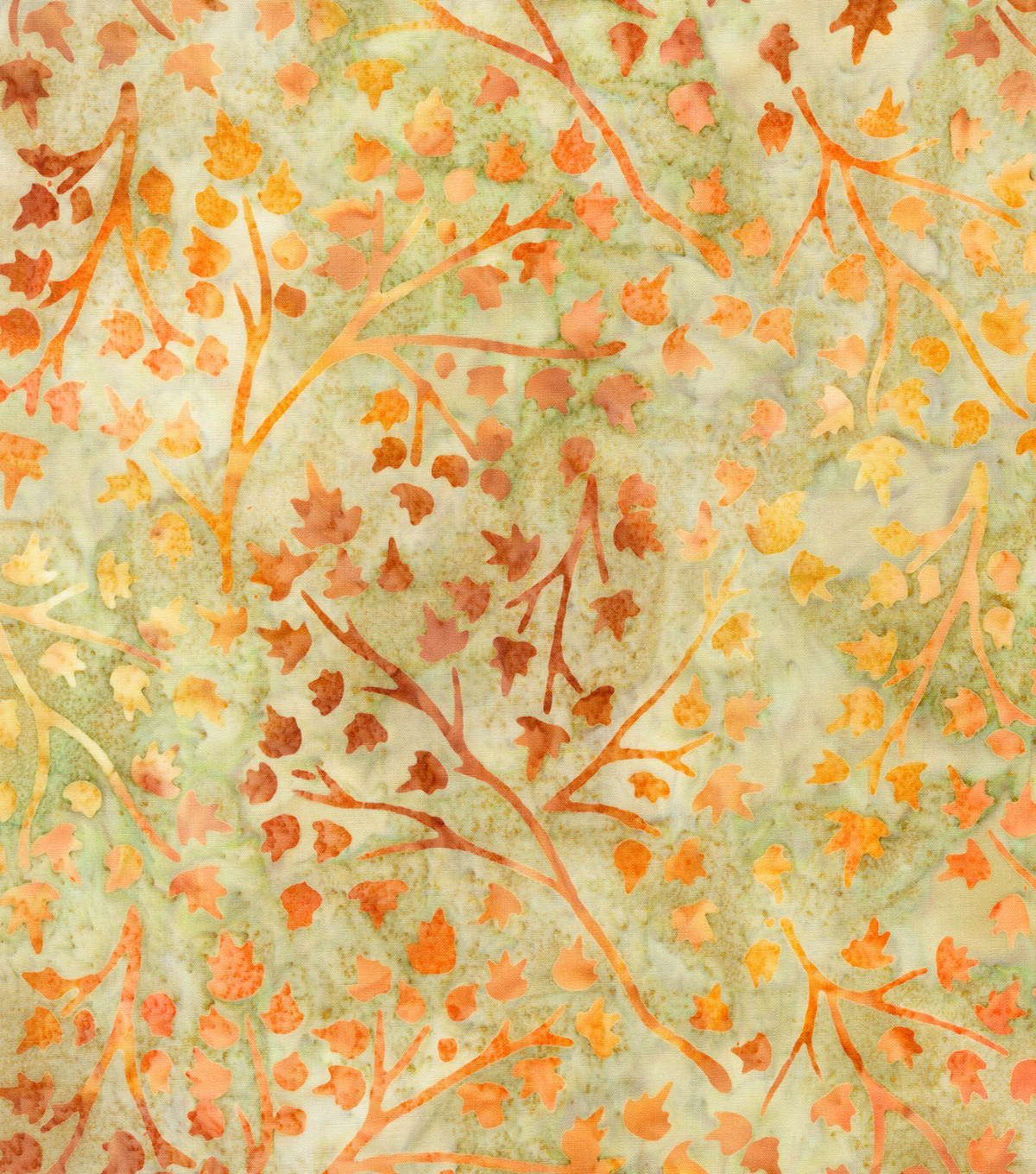 Indonesian Batik Cotton Fabric-Orange Leaves