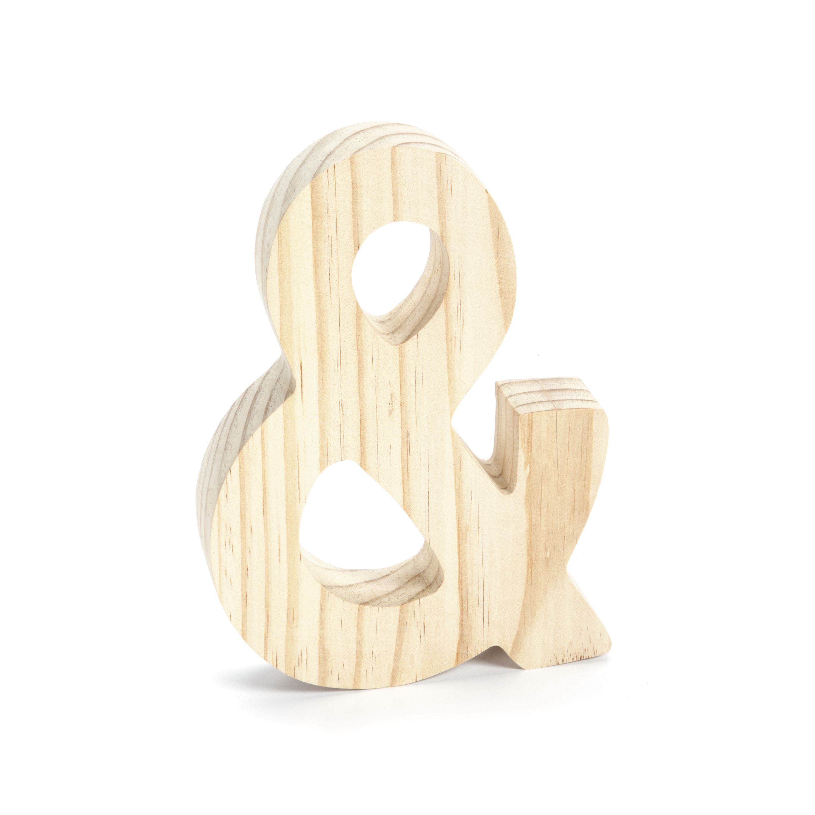 Chunky Unfinished Wood Letter Ampersand Symbol, 7-3/4 Inches High
