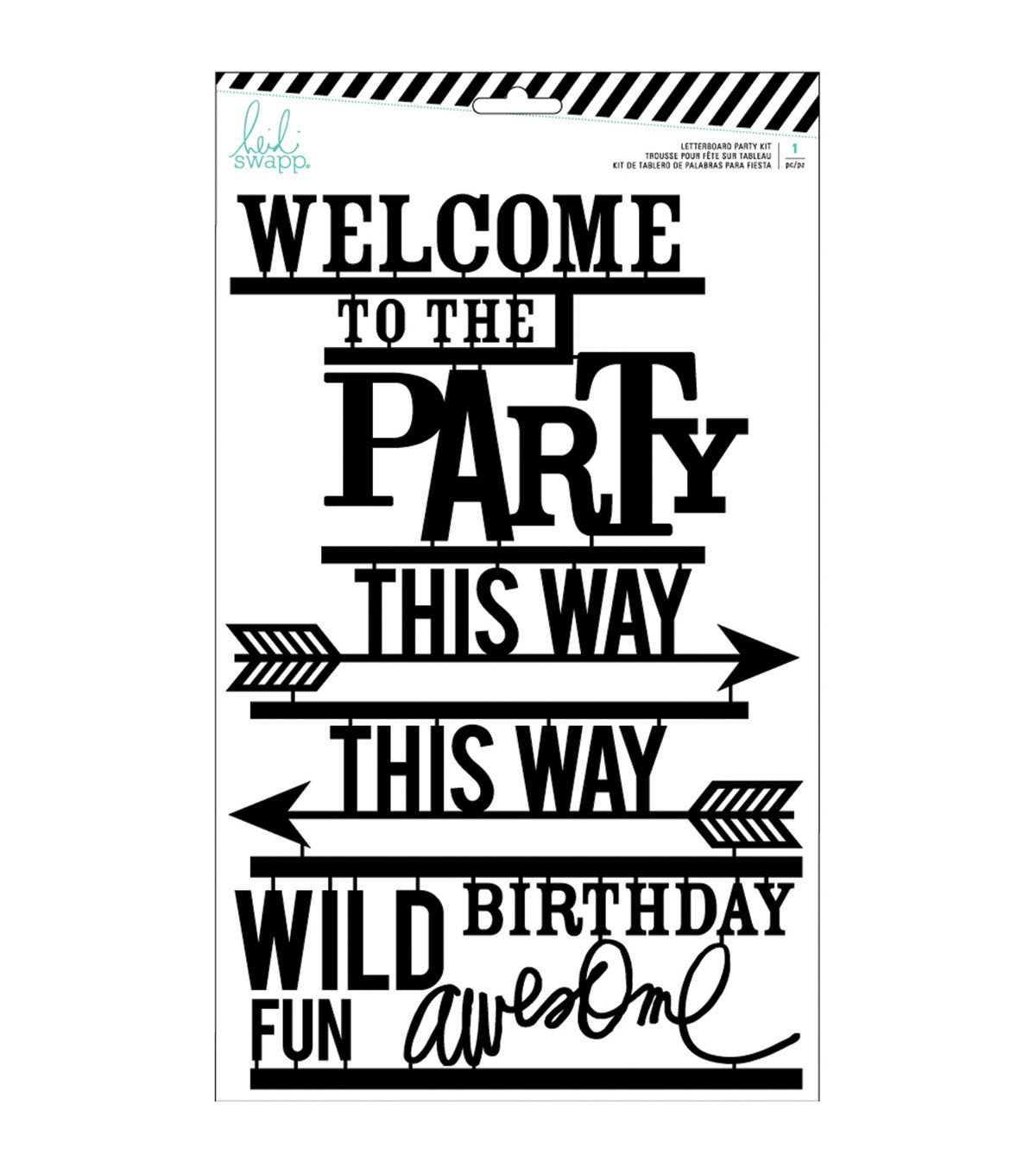 Heidi Swapp 31 pk Letterboard Words-Black Party