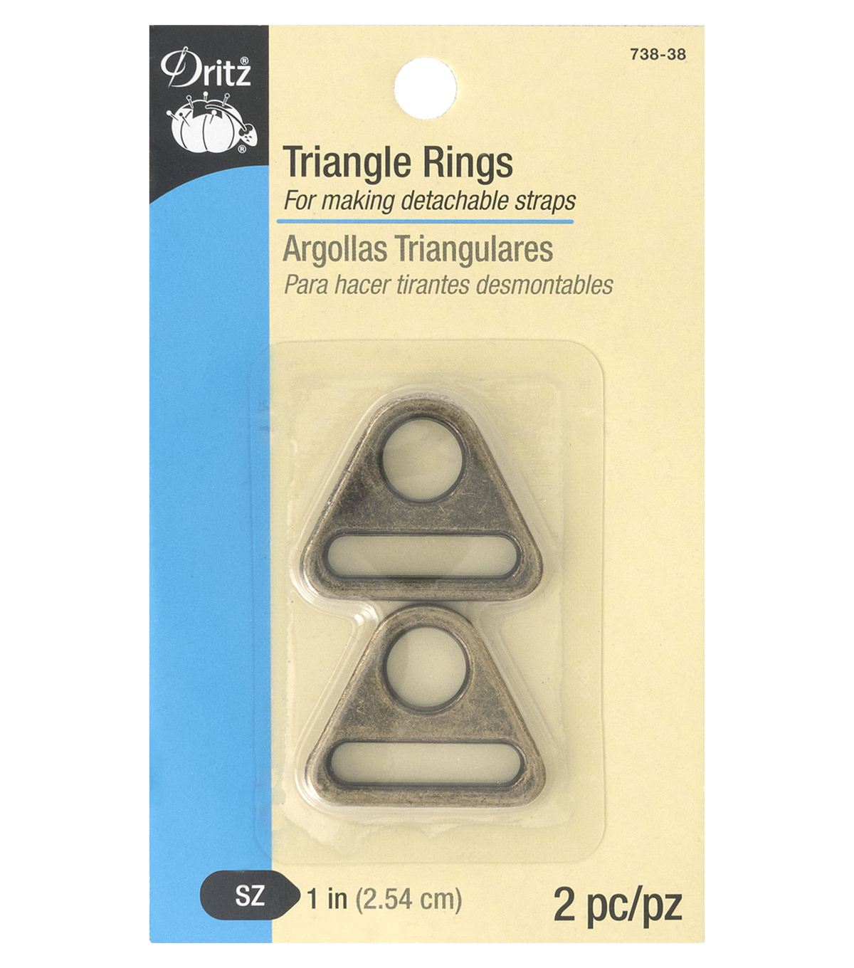 Dritz 1\u0022 Triangle Rings-Antique Brass