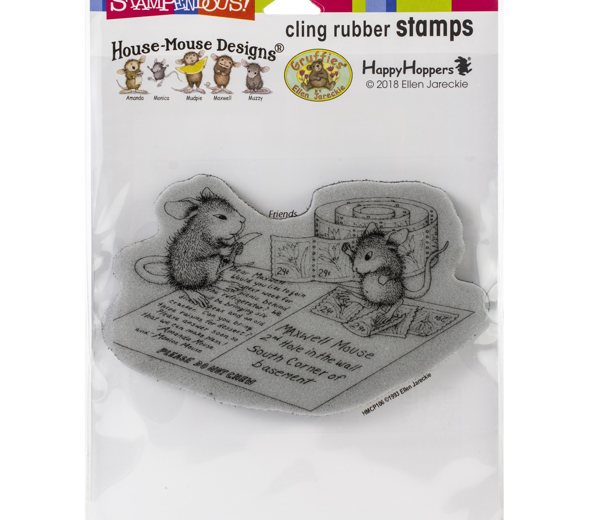 Stampendous House Mouse Cling Stamp-Postcard Mice