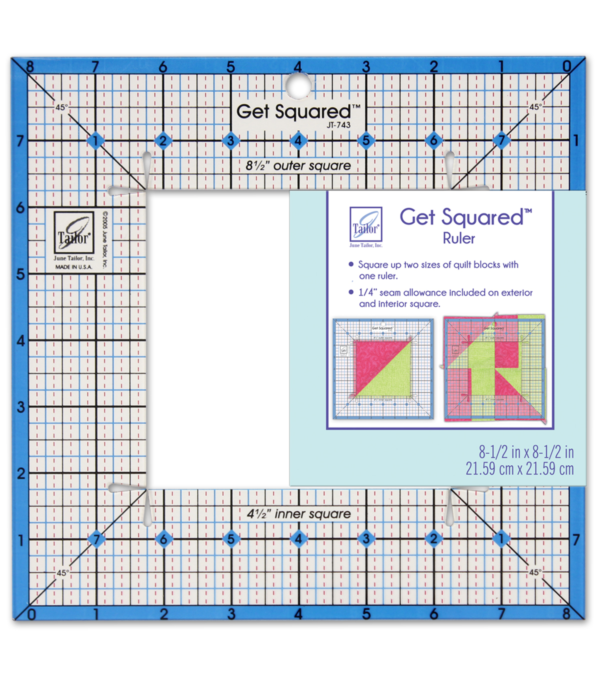 June Tailor Get Squared Ruler-8 1/2\u0022
