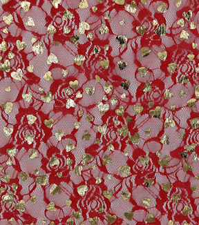 Spring Lace Fabric 31\u0022-Foil Hearts