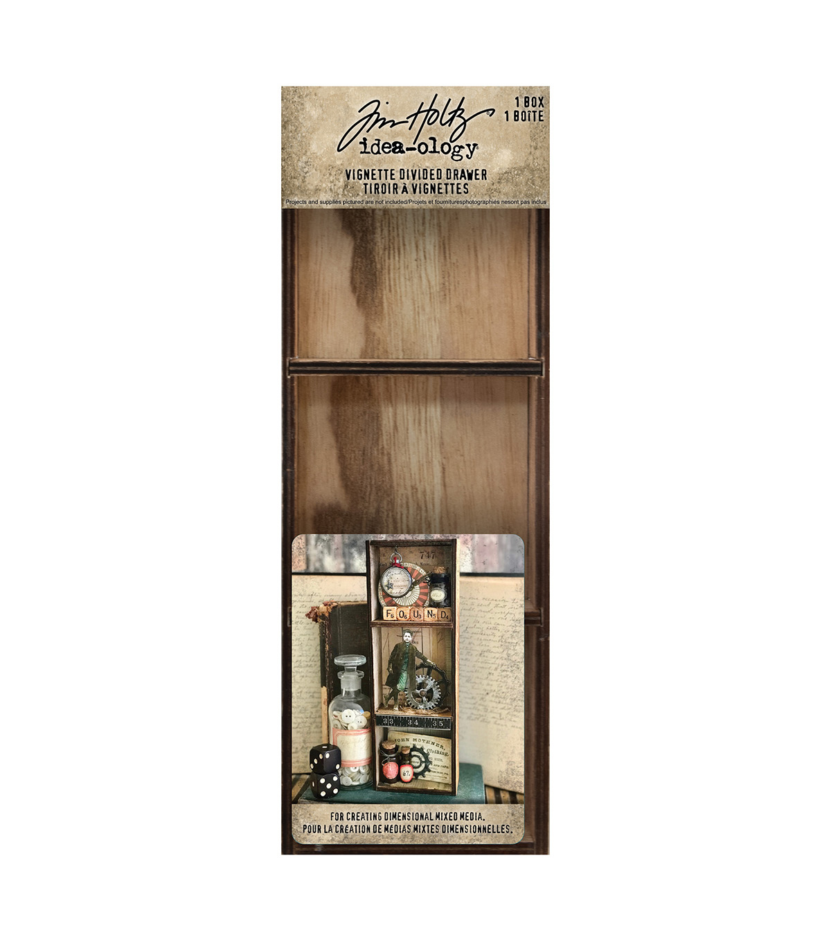 Tim Holtz Idea-Ology Vignette Divided Drawer 3.5\u0022X10\u0022-3 Compartments