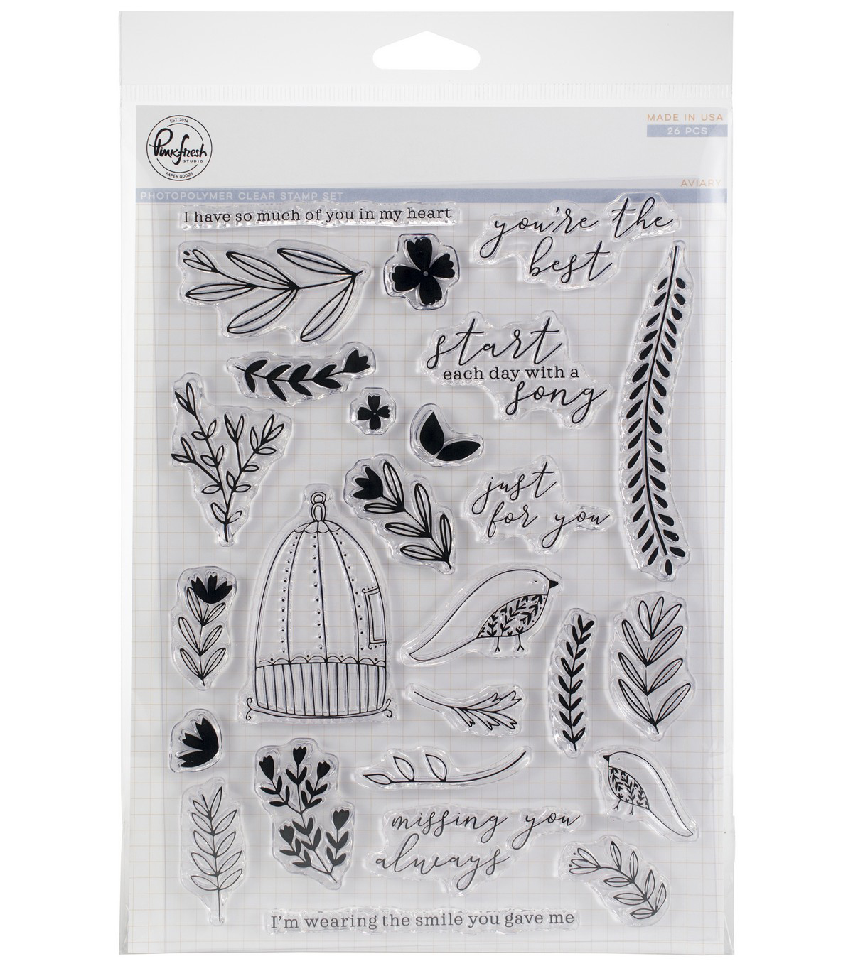 Pinkfresh Studio 26 pk Photopolymer Clear Stamps-Aviary
