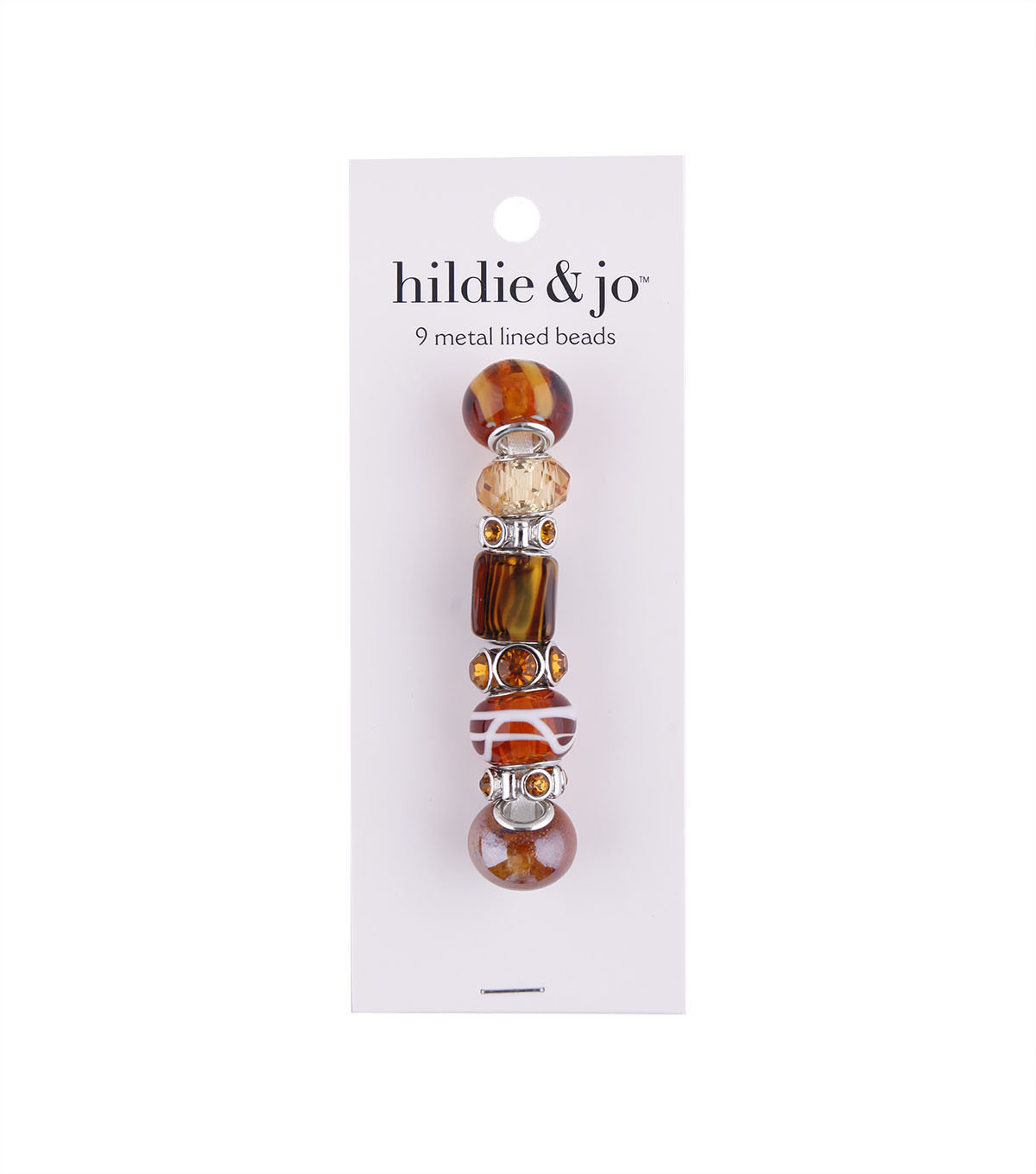 hildie & jo 9 Pack Ceramic, Glass & Metal Beads-Brown