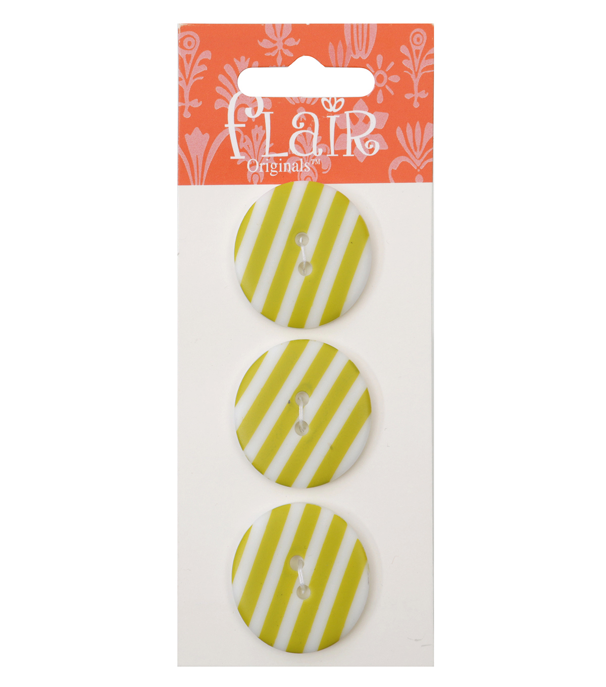Flair Originals 3 pk 1\u0027\u0027 Buttons-Lime Stripes