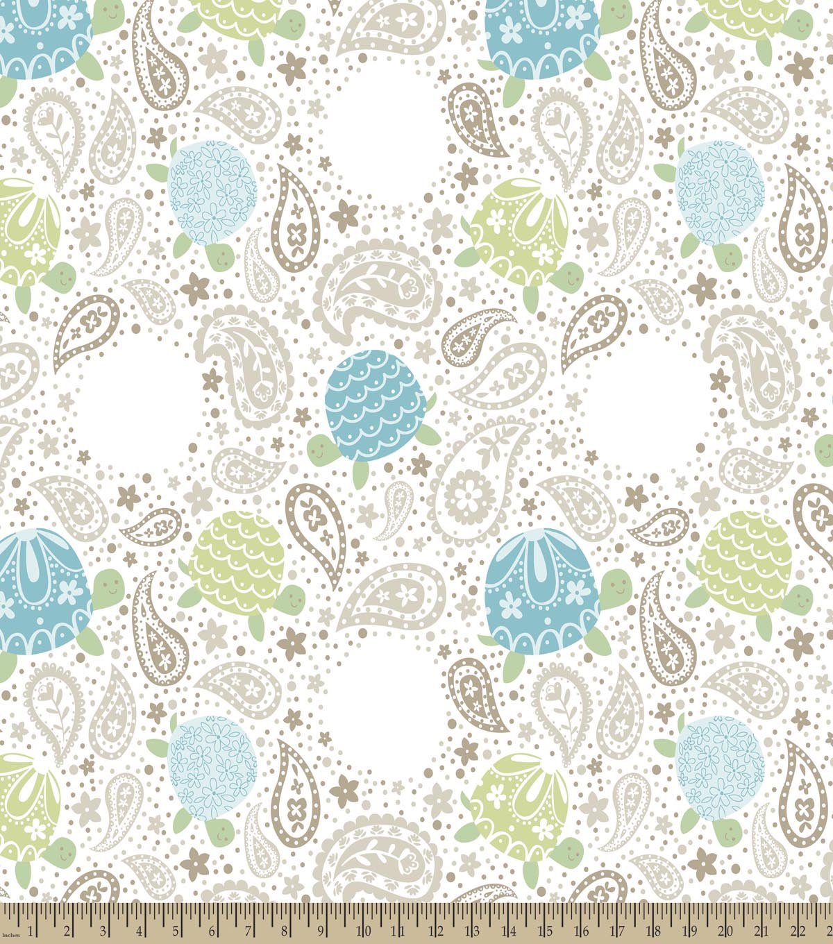 Paisley Turtles Print Fabric