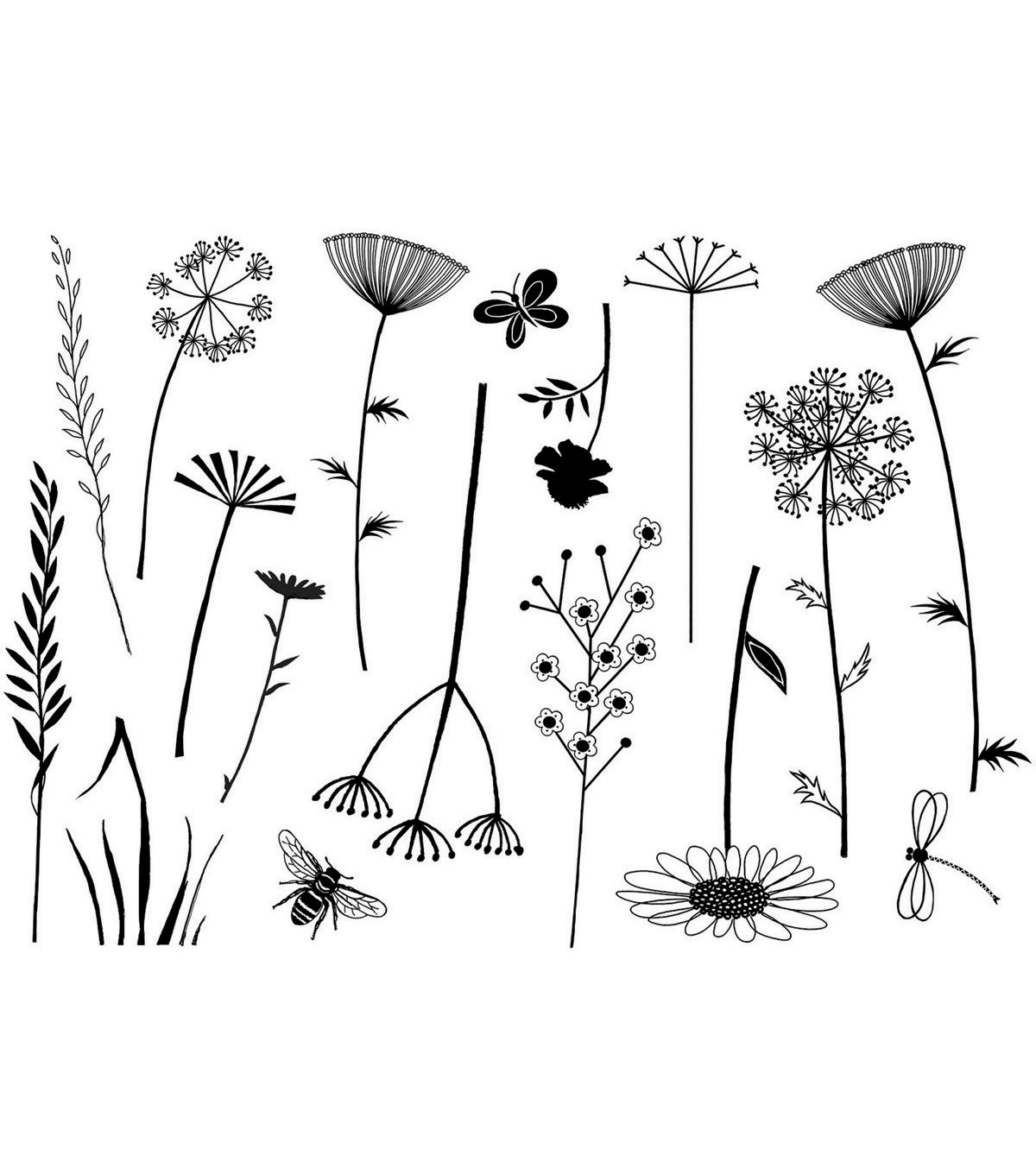 Crafty Individuals Build A Meadow Unmounted Rubber Stamp