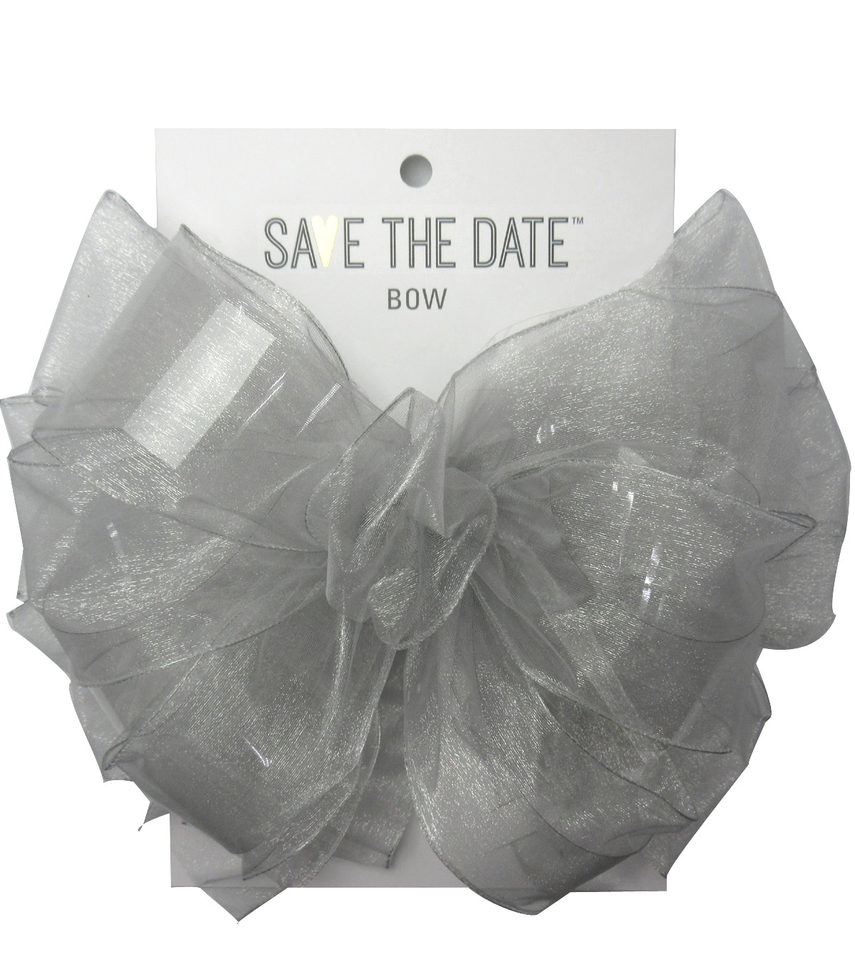 Save the Date 2.5\u0022 Bow-Light Grey Sheer