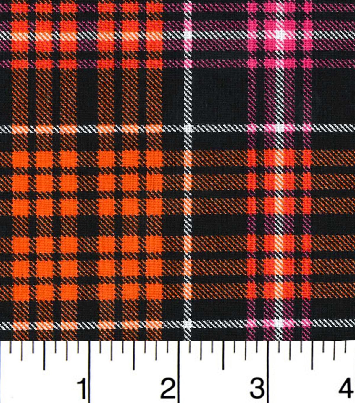 Halloween Cotton Fabric-Halloween Plaid Pink And Orange