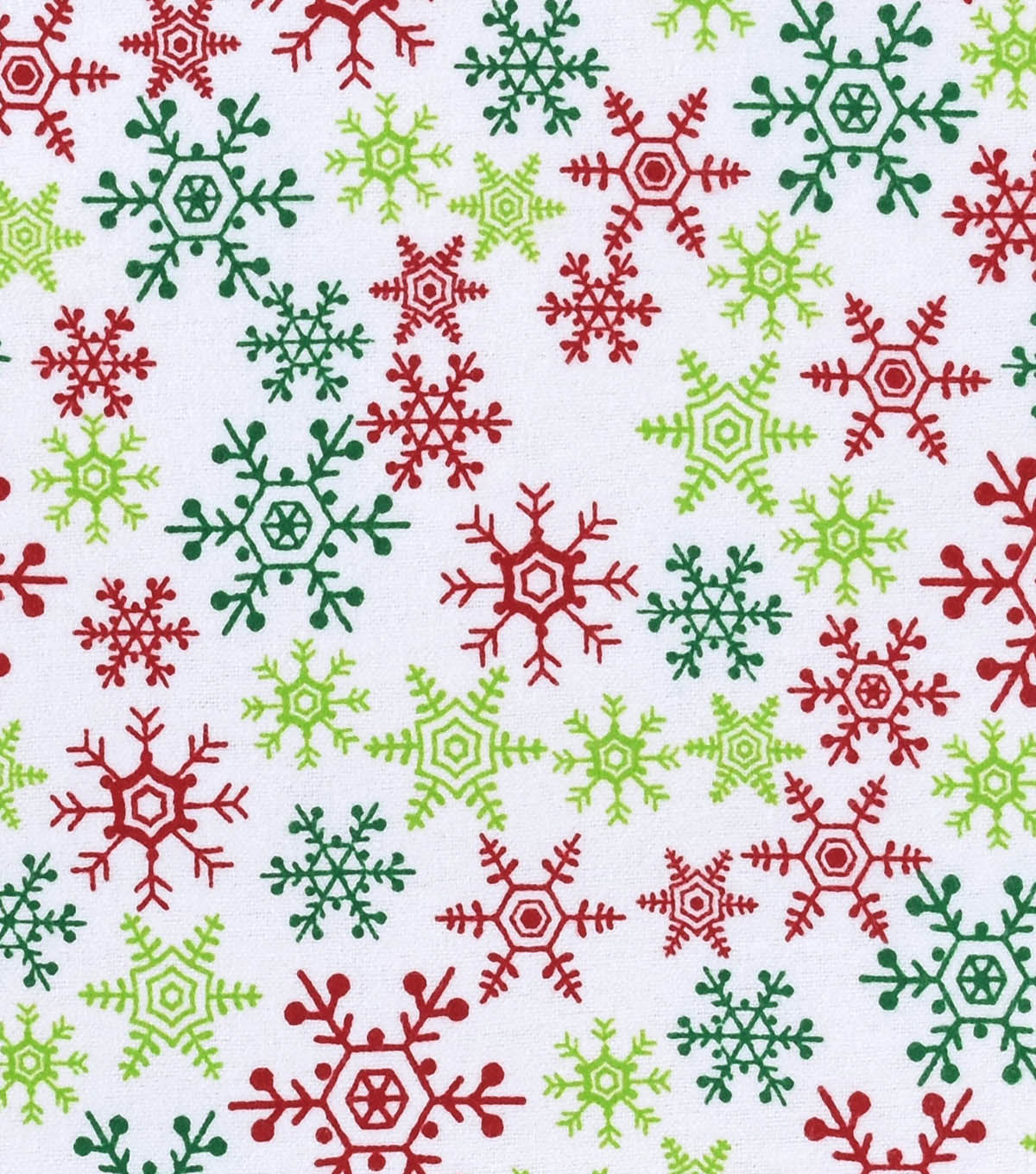 Snuggle Flannel Fabric 42\u0022-Red & Green Snowflakes
