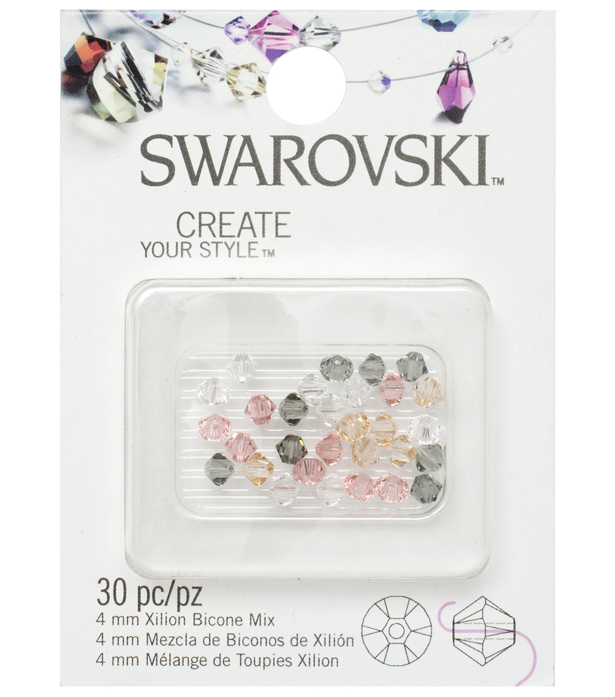 4mm Create Your Style Swarovski Bicone Beads-Star Mix 30/pk