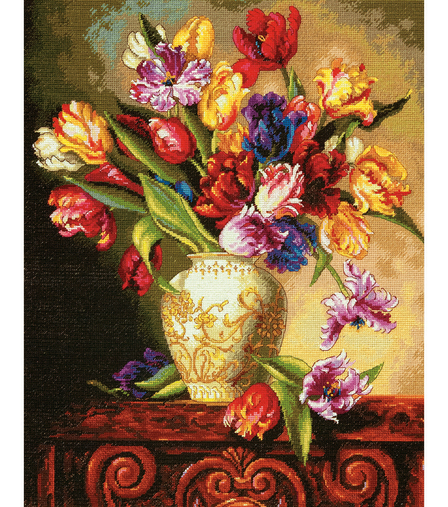 Gold Collection Parrot Tulips Counted Cross Stitch Kit