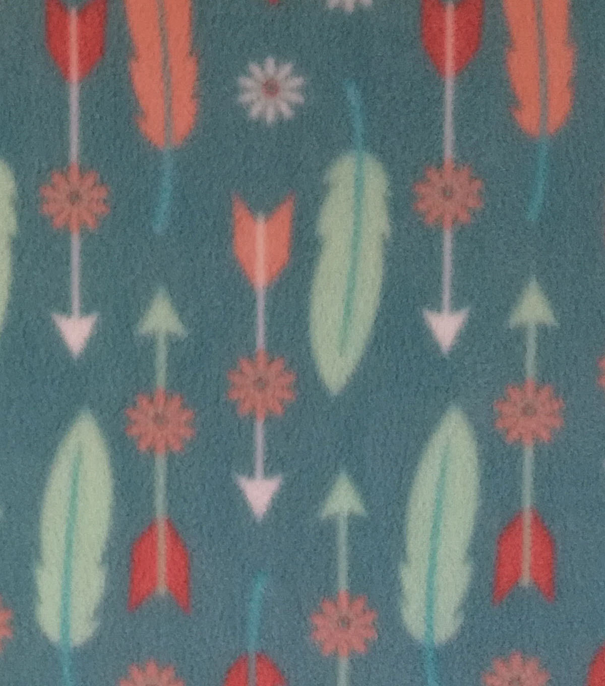 Anti-Pill Fleece Fabric -Wildflower & Feathers