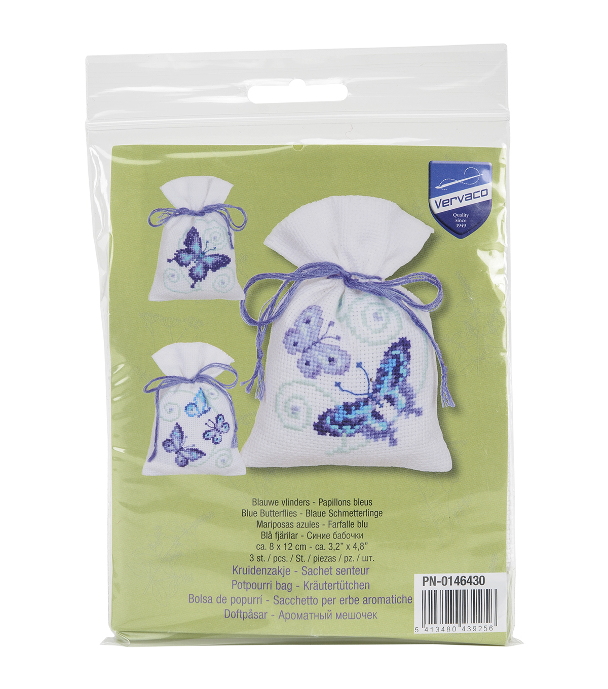 Vervaco Aida Counted Cross Stitch Kit-Blue Butterflies Bags