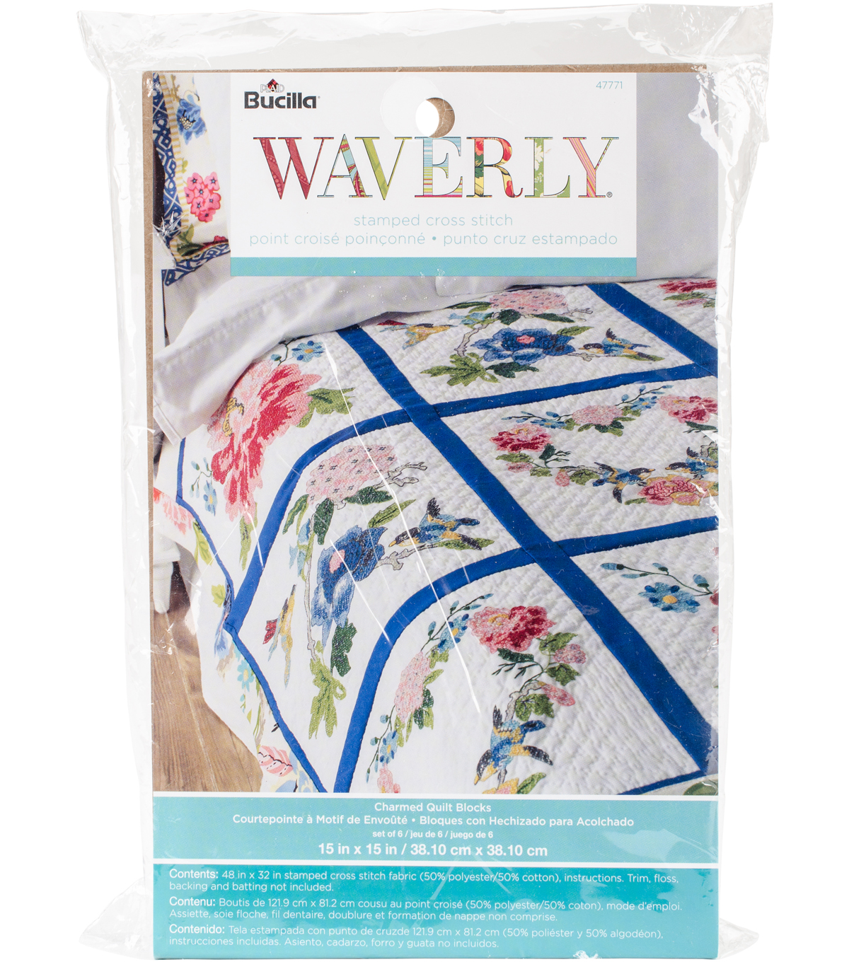 Stamped Embroidery Quilt Blocks 15x15 6 Pack Waverly Charmed Joann
