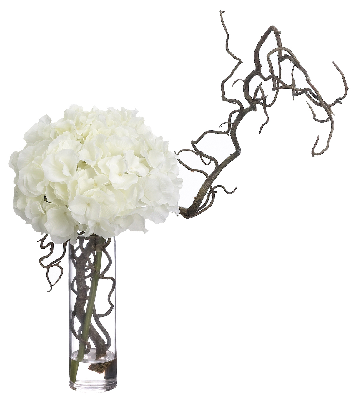 Hydrangea & Curly Willow in Glass Vase 18\u0027\u0027