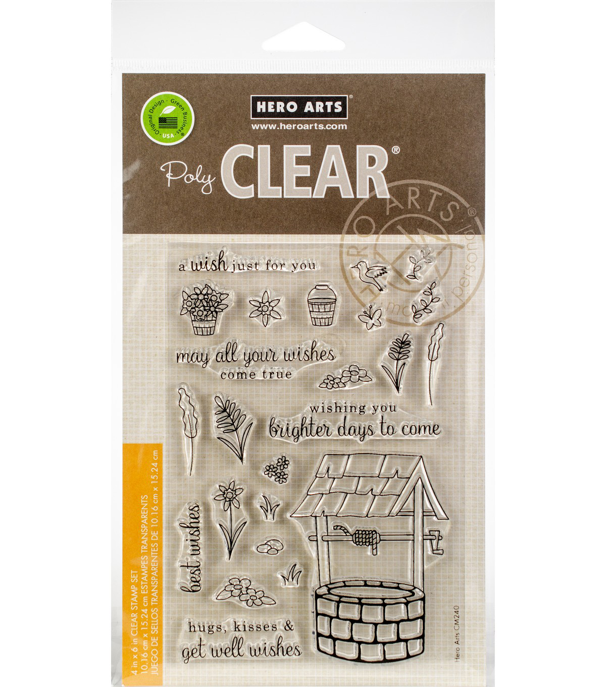 Hero Arts 24 pk Clear Stamps-Wishing Well