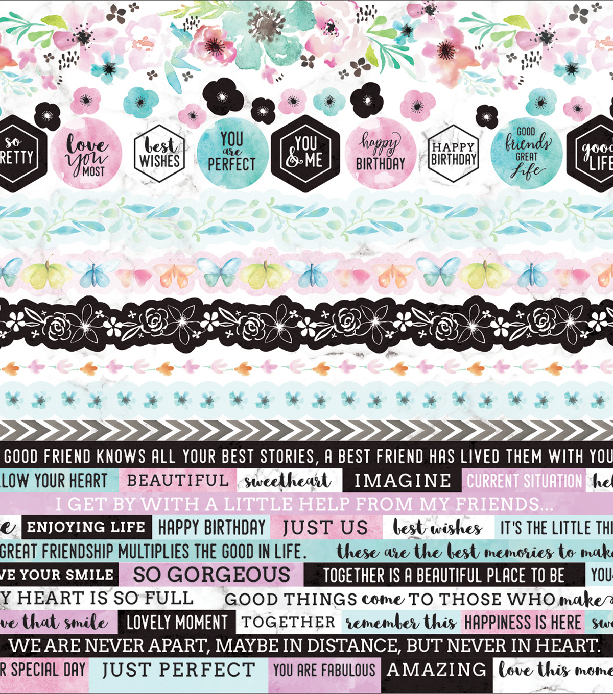 Kaisercraft Wildflower 12\u0027\u0027x12\u0027\u0027 Printed Sticker Sheet