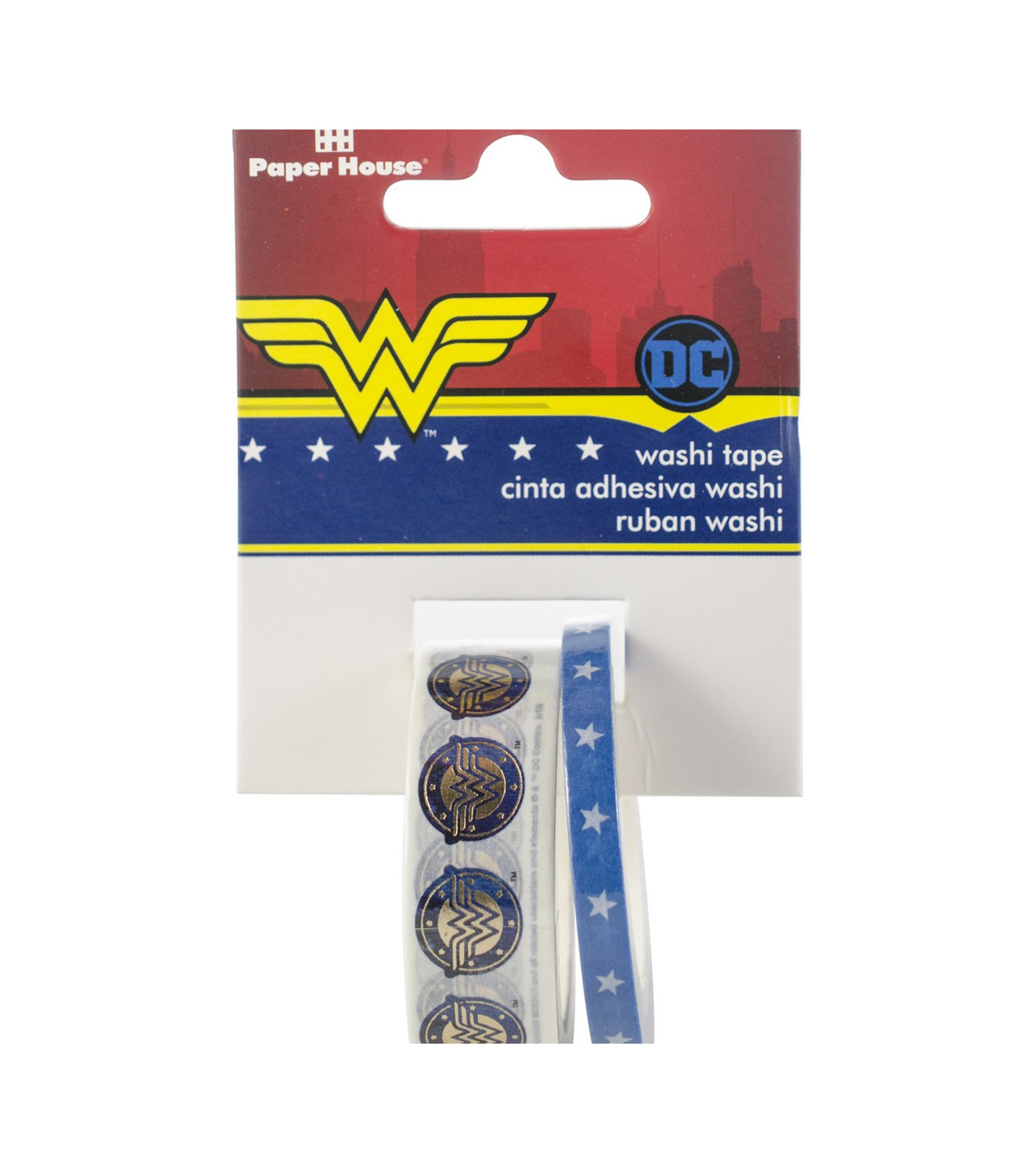 Paper House Washi Tape 2/Pkg-Wonder Woman, 15mmx10m and 5mmx10m