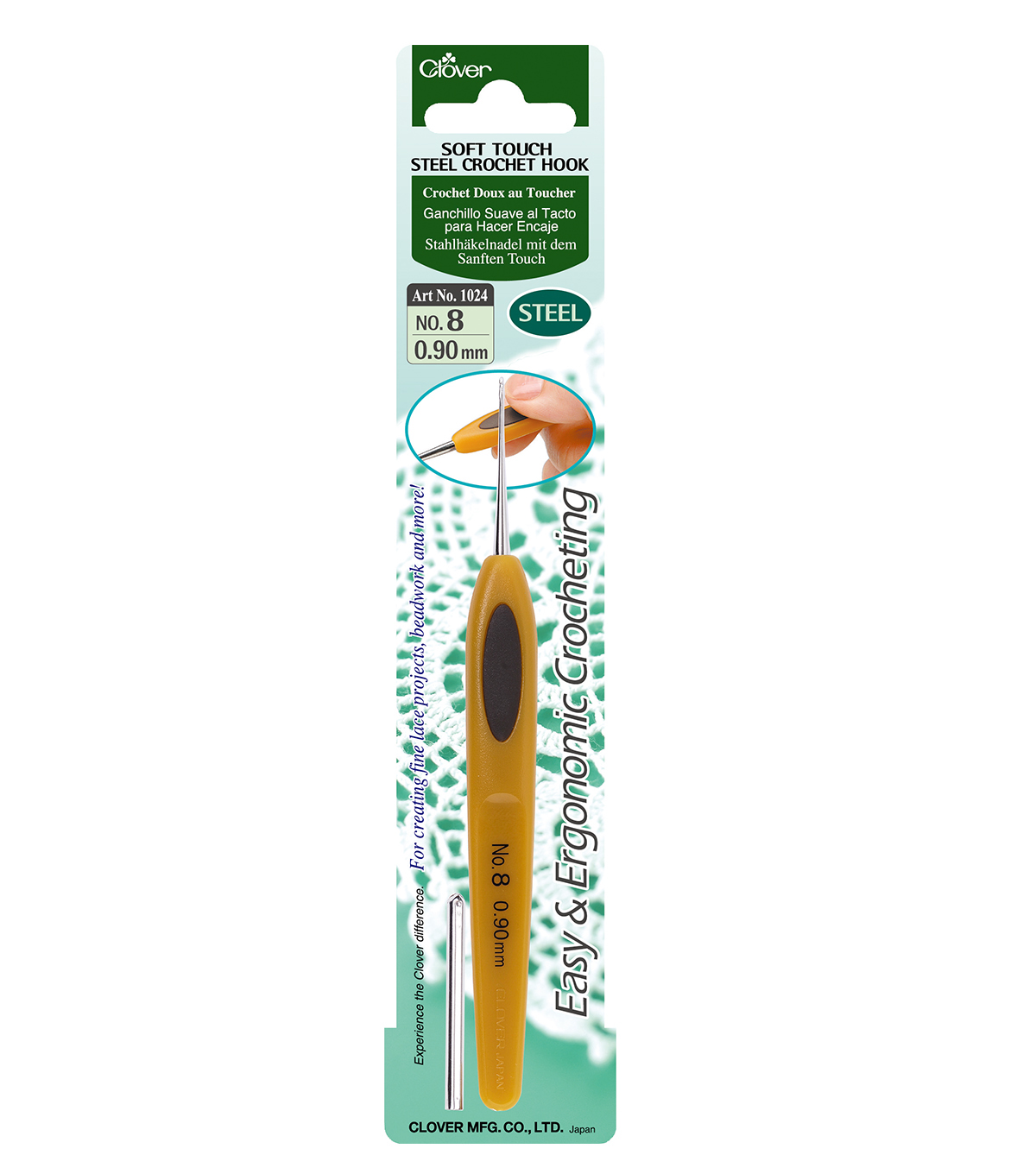 Clover-Soft Touch Steel Crochet Hook-Size 8 .90mm
