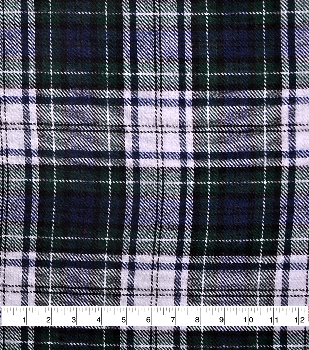 Flannel Shirting Fabric -Navy, Green & White Plaid