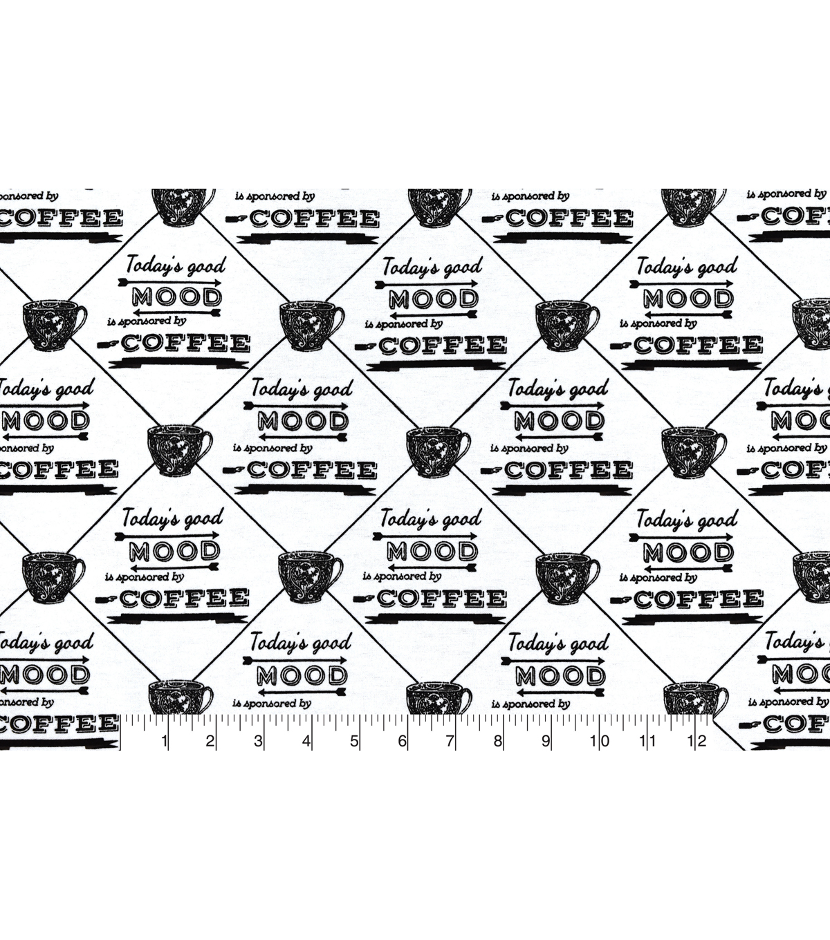 Snuggle Flannel Fabric 42\u0027\u0027-Today\u0027s Good Mood is Sponsored by Coffee
